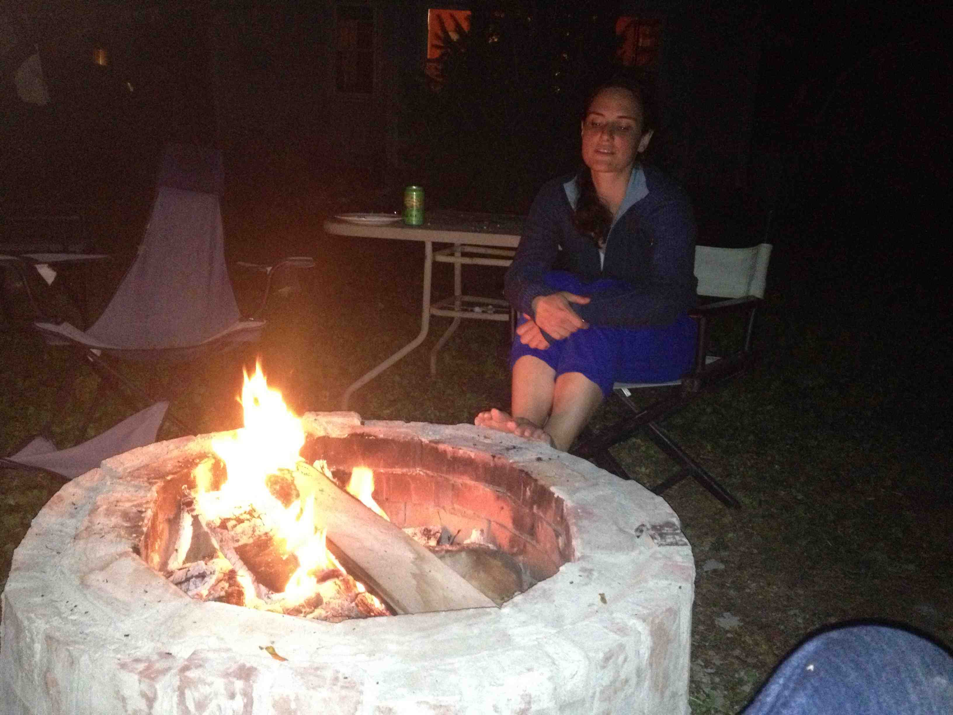 Kate tests the fire pit